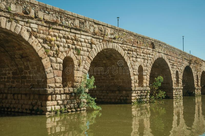 Puente Romano arches on the Guadiana River at Merida stock photos