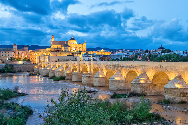 Puente Romano bridge and Mosque-Cathedral of Cordoba royalty free stock photography