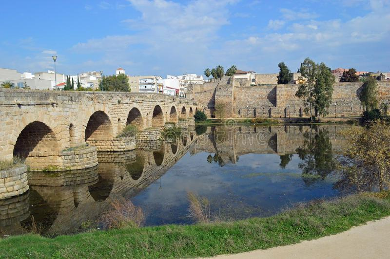 Puente Romana, Roman Bridge and the Alcazaba Merida Spain royalty free stock image