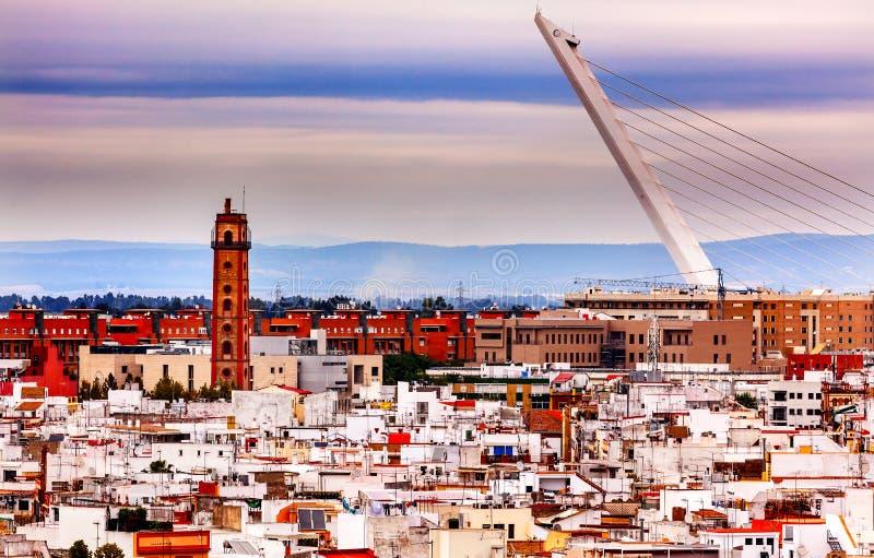 Puente Sevilla España de Alamillo del camera obscura imagen de archivo libre de regalías