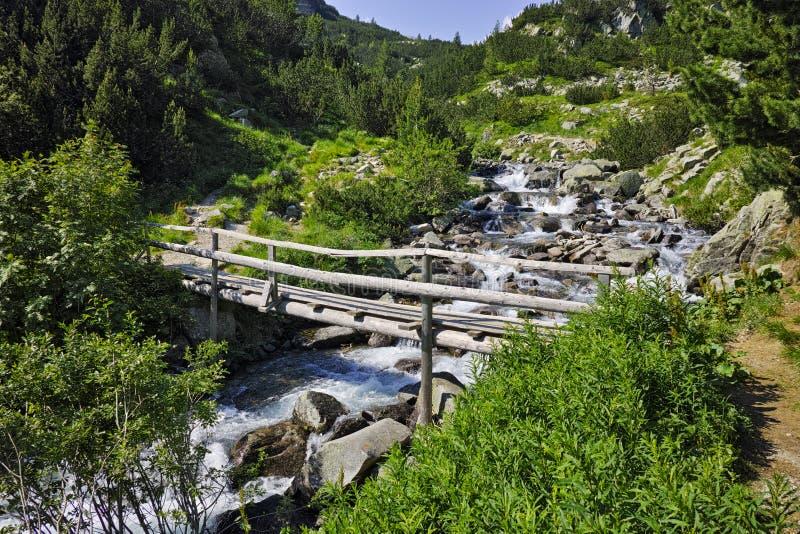 Puente sobre el pequeño río de la montaña, montaña de Pirin imagen de archivo libre de regalías