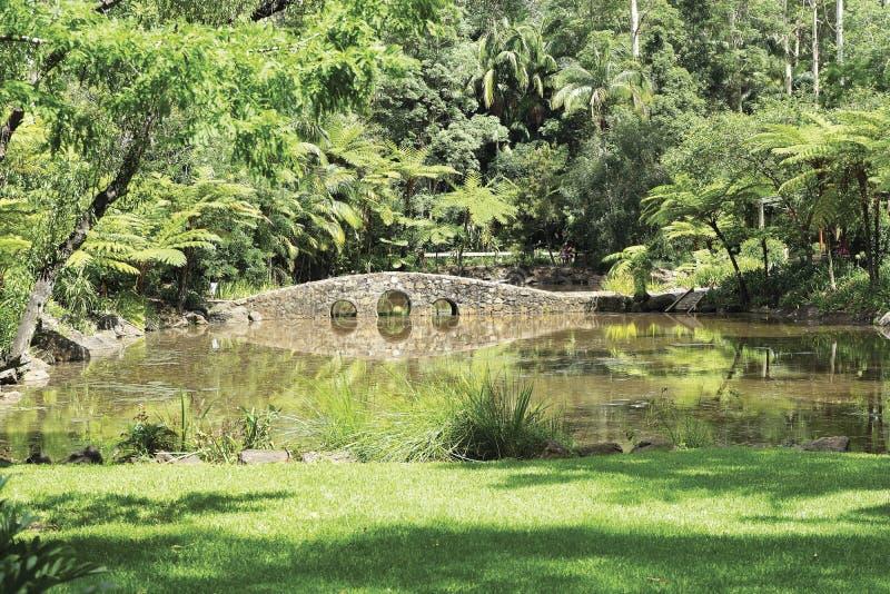 Puente sobre el peque?o lago imágenes de archivo libres de regalías