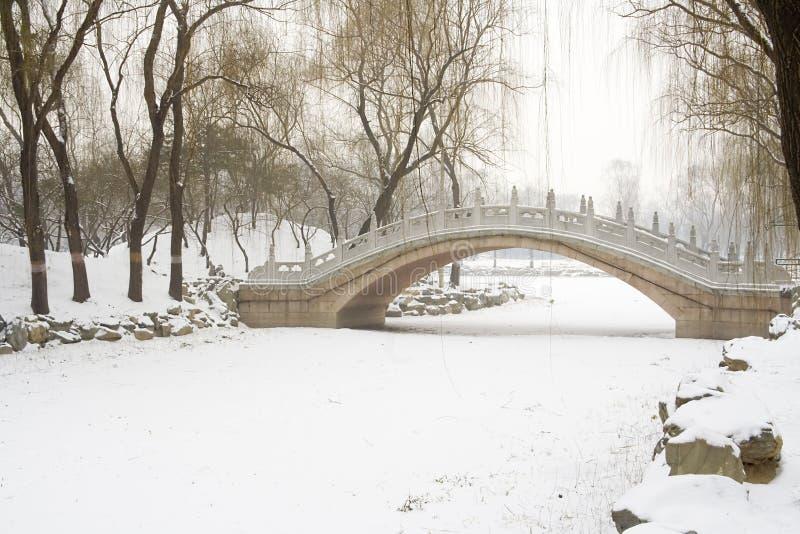 Puente sobre el río congelado foto de archivo