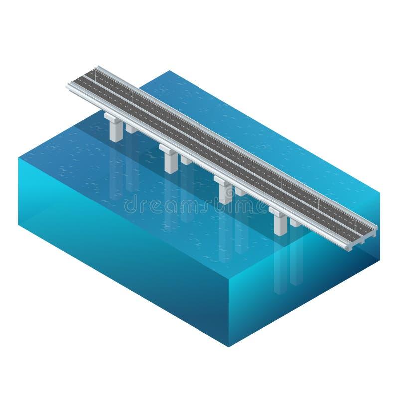 Puente sobre el río, diseño, estructura de la unidad concepto 3d Construcción de puente Ejemplo isométrico plano 3d del vector stock de ilustración