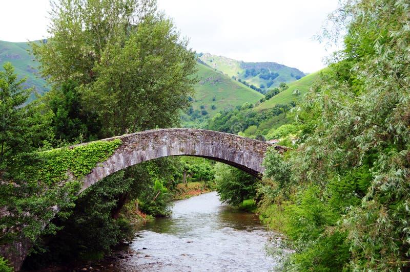 Puente sobre el río Nive en St Etiene de Baigorry fotografía de archivo libre de regalías