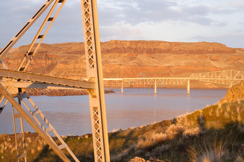 Puente sobre el río Palouse Regoin Washington Hillside del este de Touchet fotos de archivo libres de regalías