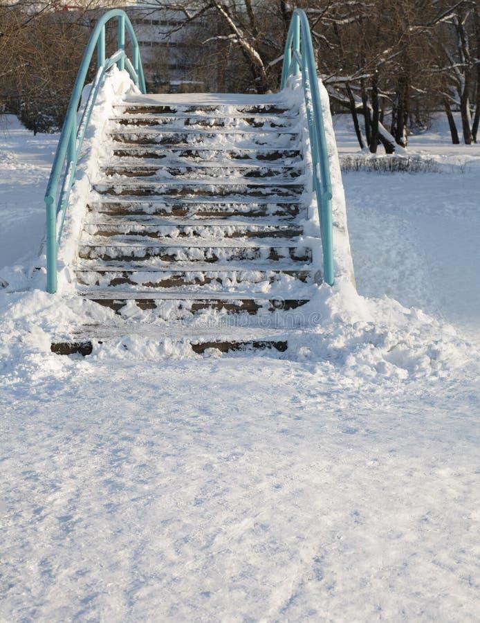 Puente sobre la charca en el invierno