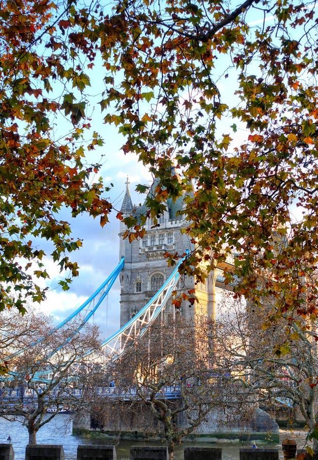 Puente torre en colores de otoño imagenes de archivo