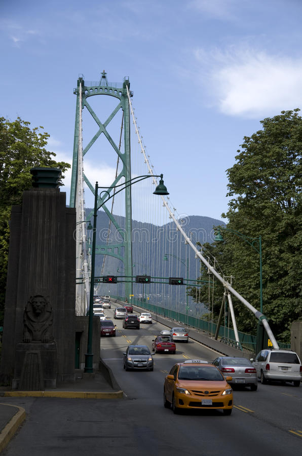 Puente Vancouver de la puerta de los leones imagen de archivo
