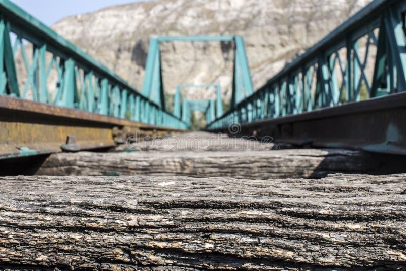 Puente verde viejo del tren foto de archivo