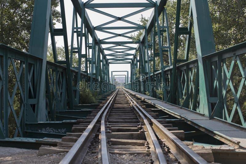 Puente verde viejo del tren fotografía de archivo libre de regalías