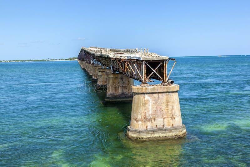 Puente viejo del ferrocarril en la Bahía imagen de archivo