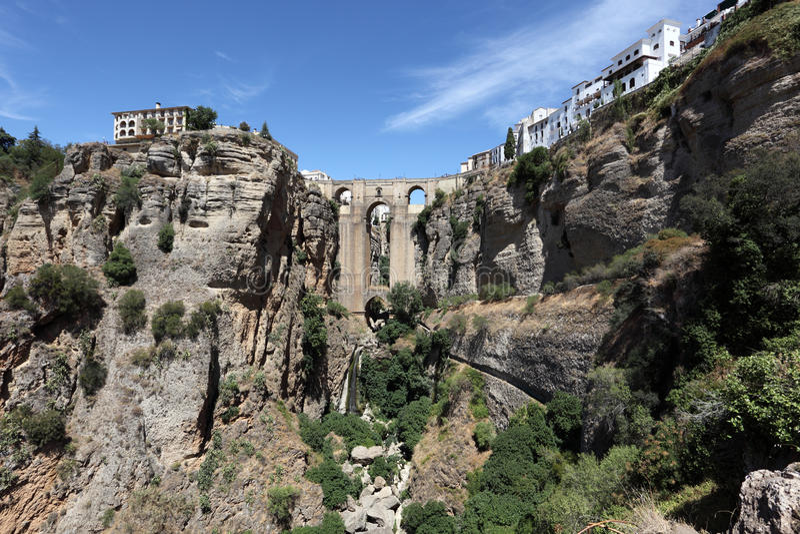 Puente w Ronda Nuevo, Hiszpania fotografia stock