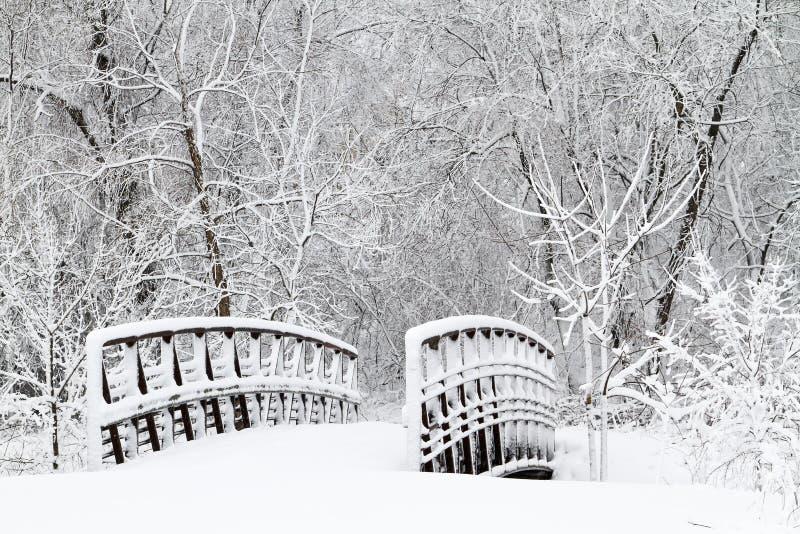 Puente y calzada nevados foto de archivo