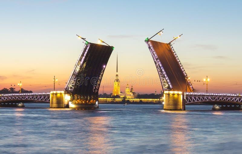 Puente y Peter y Paul Fortress exhaustos en las noches blancas, St Petersburg, Rusia del palacio imagen de archivo