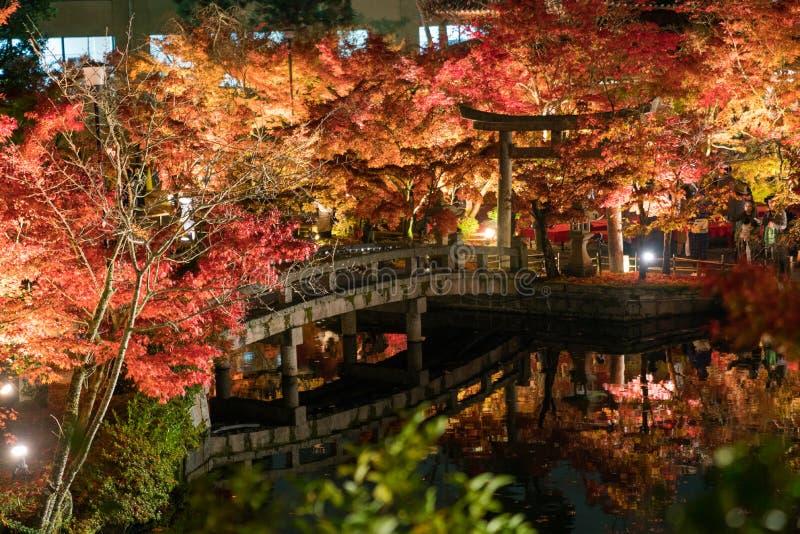 Puente y puerta japoneses del torii en otoño imágenes de archivo libres de regalías