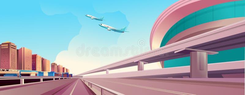Puentes del camino del paisaje urbano stock de ilustración