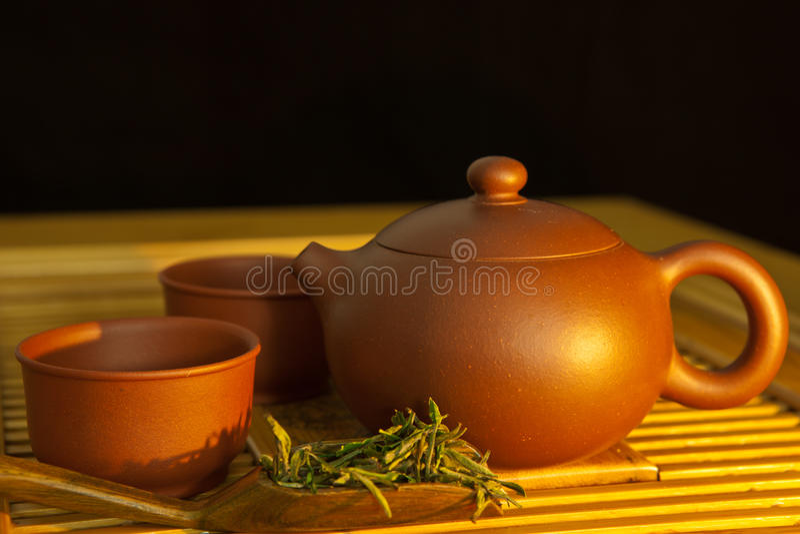 Puer chińska herbata i herbaciany set obrazy stock