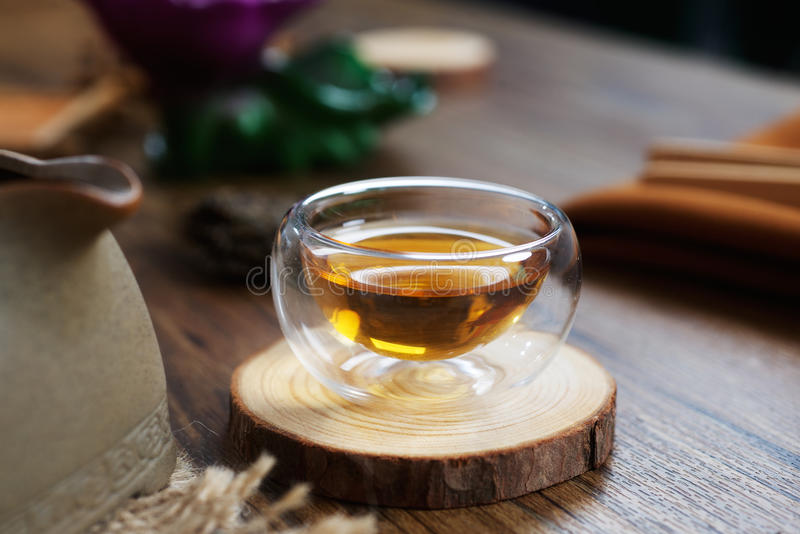 Puer tea from Yunnan province. Chinese Puer tea from Yunnan province of China in the table stock photo