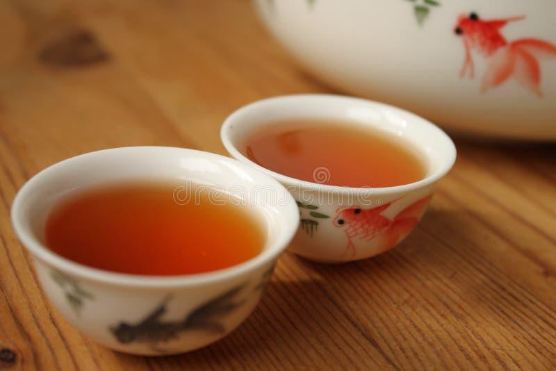 Puerh在小中国杯子的未加工的茶有金鱼的 免版税图库摄影