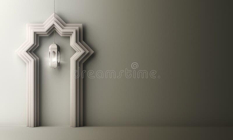Puerta árabe de la ventana del corte del papel y lámpara colgante en el fondo gris blanco de la pendiente libre illustration