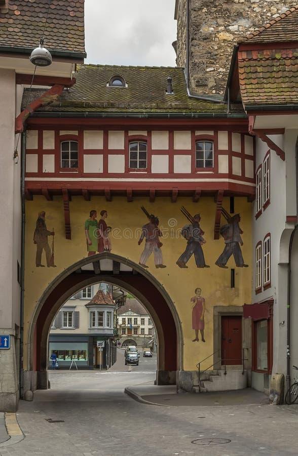 Puerta, Aarau, Suiza foto de archivo libre de regalías