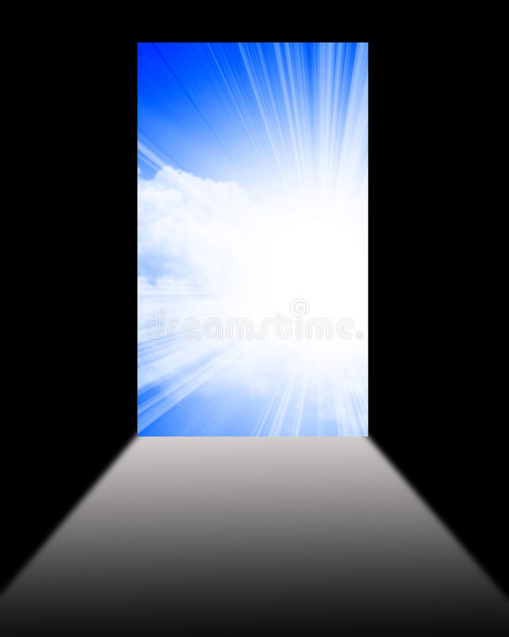 Puerta abierta al nuevo mundo ilustración del vector