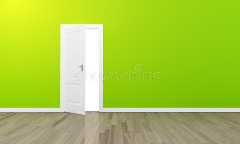 Puerta abierta con la pared verde y el piso de madera stock de ilustración