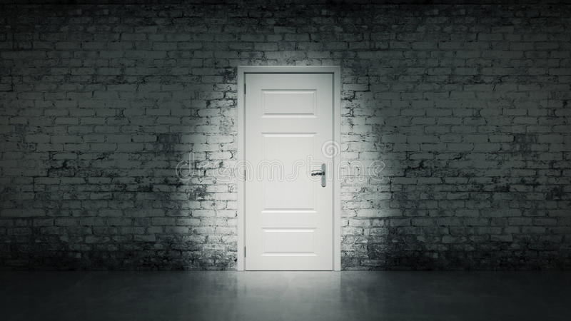 puerta abierta 3d en una pared de ladrillo blanca del vintage libre illustration