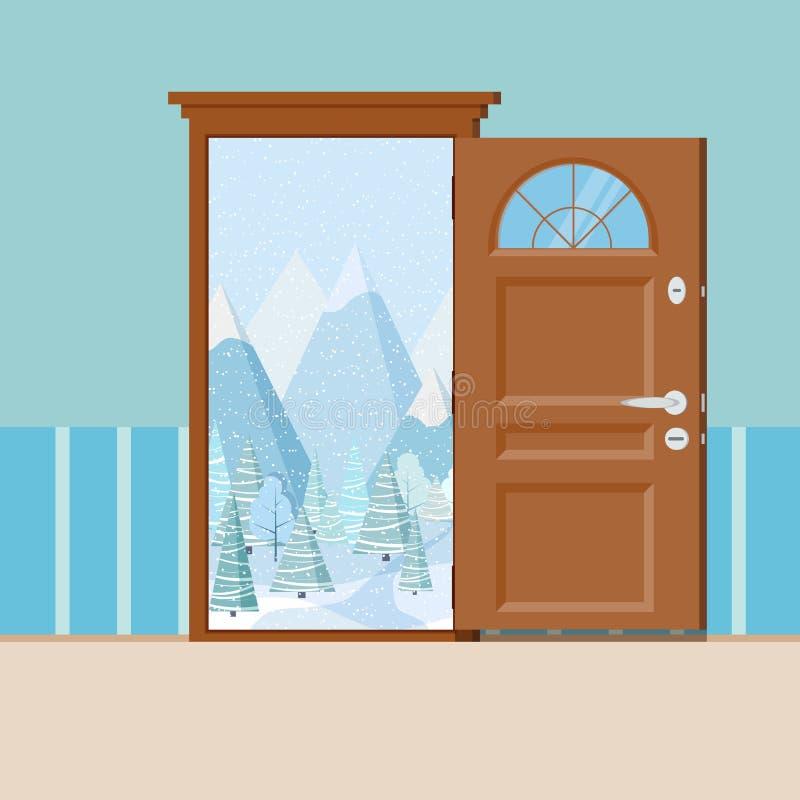 Puerta abierta de madera con el marco en estilo plano de la historieta ilustración del vector