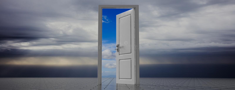 Puerta abierta en el fondo oscuro del cielo, opinión clara fuera de la abertura de la puerta, bandera del cielo ilustración 3D libre illustration
