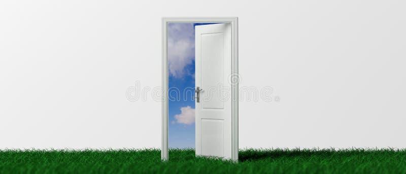 Puerta abierta en la hierba verde, fondo blanco, opinión fuera de la puerta, bandera de cielo azul ilustración 3D ilustración del vector