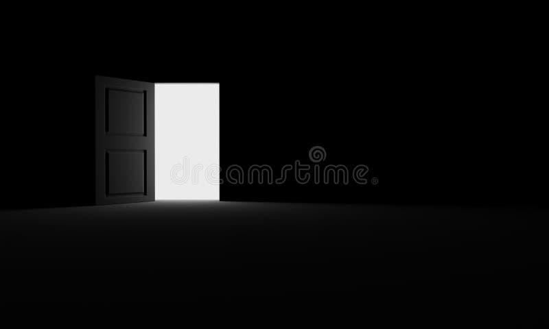 Puerta abierta en la oscuridad imagen de archivo libre de regalías
