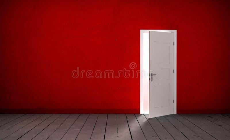 Puerta abierta en un cuarto vacío ilustración del vector