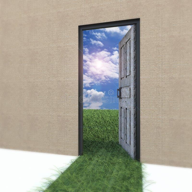 Puerta abierta a la nueva vida en el campo. ilustración del vector
