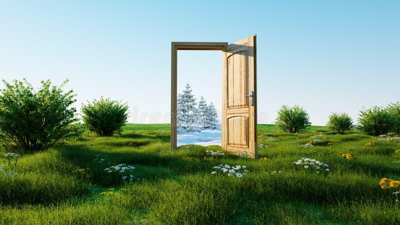 Puerta abierta Un invierno porta al verano, cambio del concepto de las estaciones transición representación 3d imagen de archivo