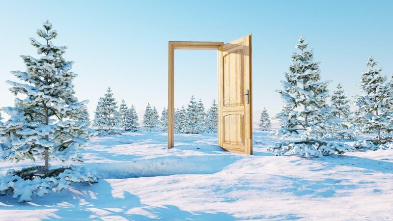 Puerta abierta Un portal en invierno representación 3d foto de archivo