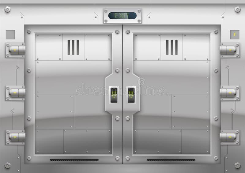 Puerta acorazada del metal futurista stock de ilustración