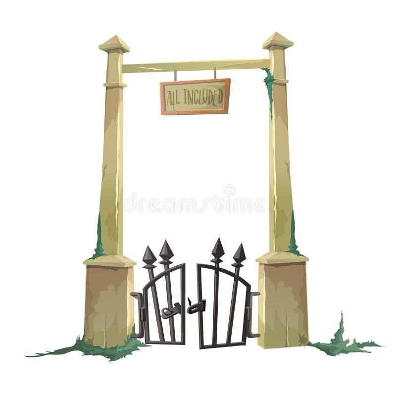 Puerta al cementerio viejo cortado stock de ilustración