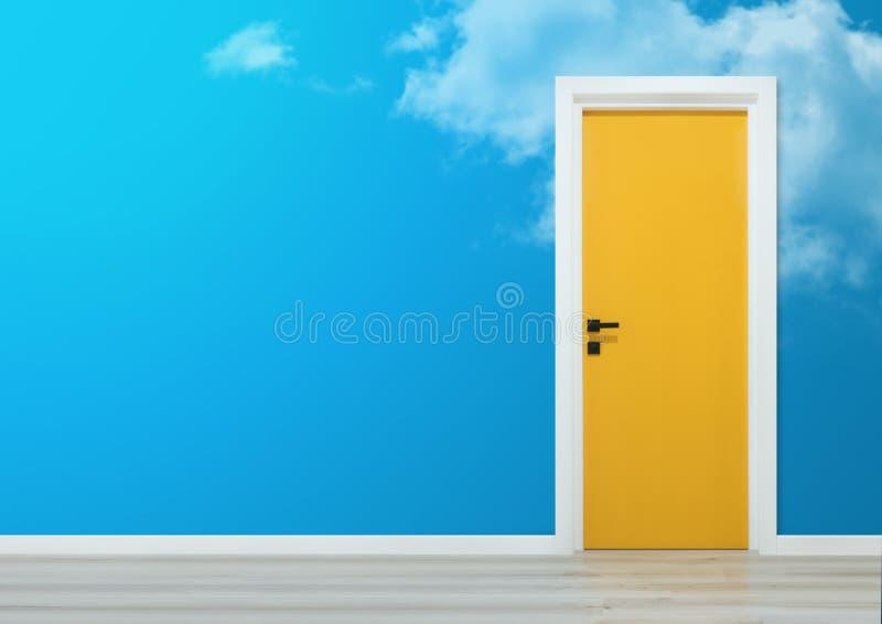Puerta amarilla con la pared del cielo azul y el piso de madera imagen de archivo