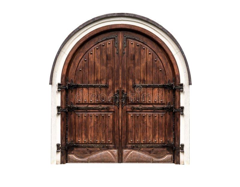 Puerta antigua de madera aislada en un fondo blanco fotografía de archivo libre de regalías