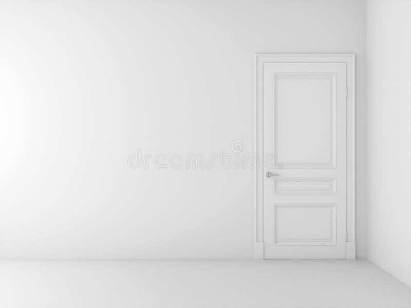 Puerta blanca en el sitio blanco stock de ilustración