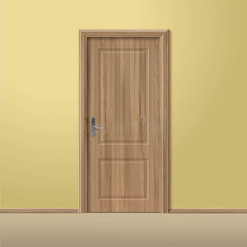 A puerta cerrada de madera del vector con el marco aislado for Puerta de madera con marco