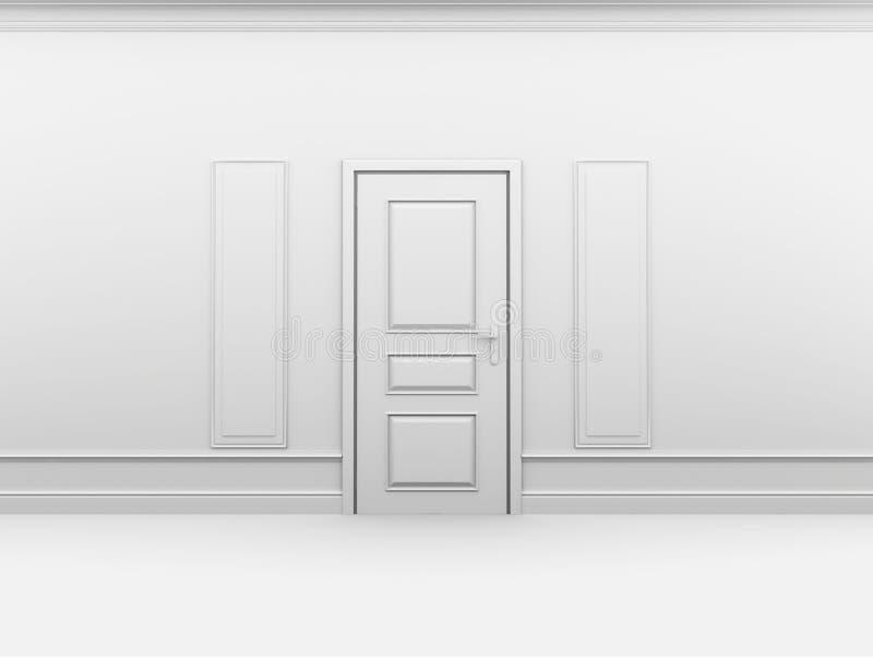 A Puerta Cerrada En Interior Vacío Con El Marco En La Pared Stock de ...