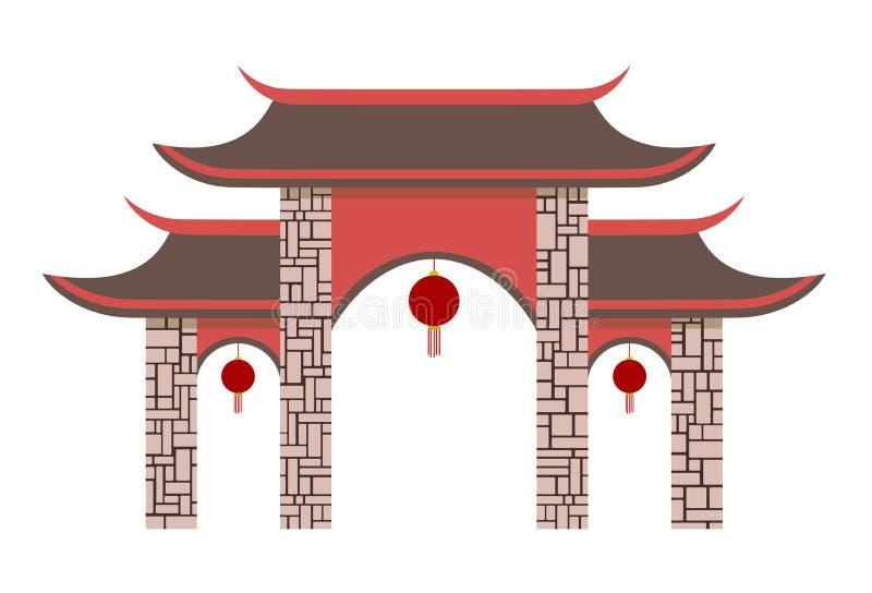Puerta china simple del pabellón libre illustration