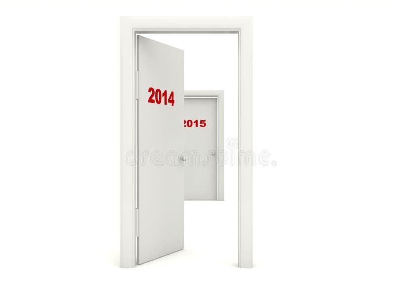 Puerta con la muestra del Año Nuevo 2014 stock de ilustración