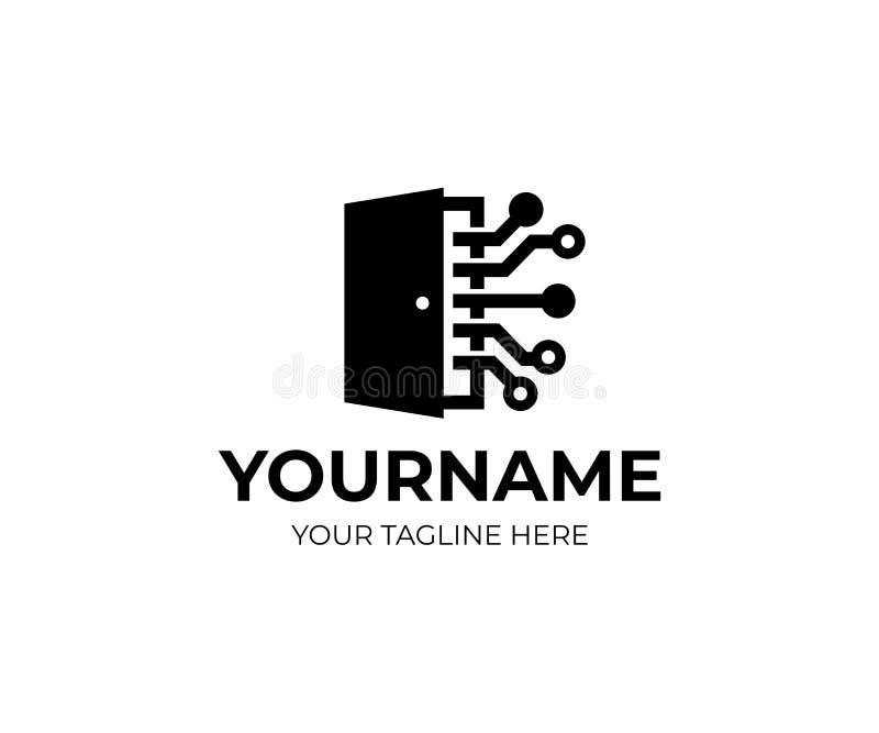 Puerta con la rejilla de la electrónica de los circuitos, la tecnología y la innovación, plantilla del logotipo ¡De Ð ompany y en stock de ilustración