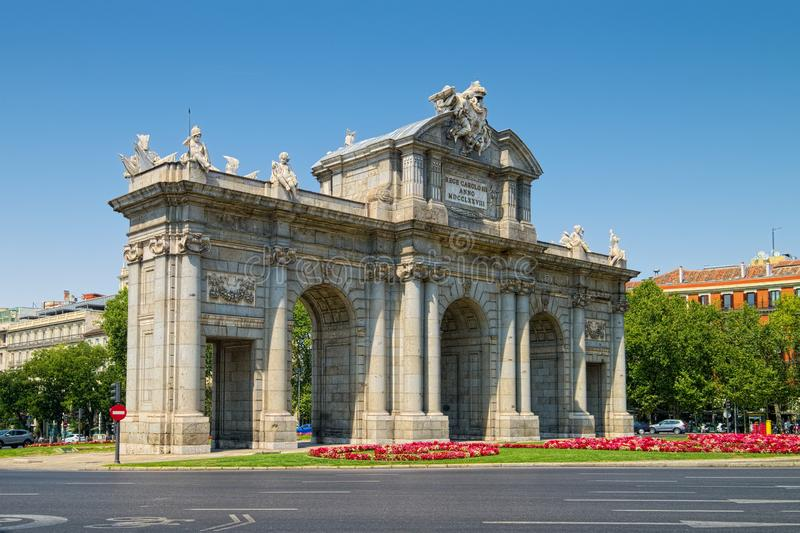 Alcala Gate in Madrid, Spain royalty free stock images