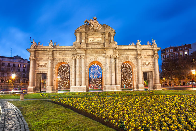 Puerta de Alcala at Christmas, Madrid royalty free stock images