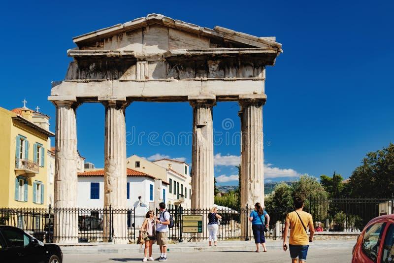 Puerta de Athena Archegetis en Atenas, Grecia foto de archivo